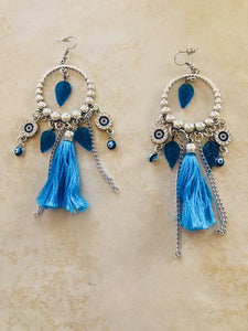 Brilliant Blue Evil Eye Tassel Earrings