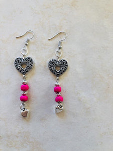 Pink and silver heat earrings