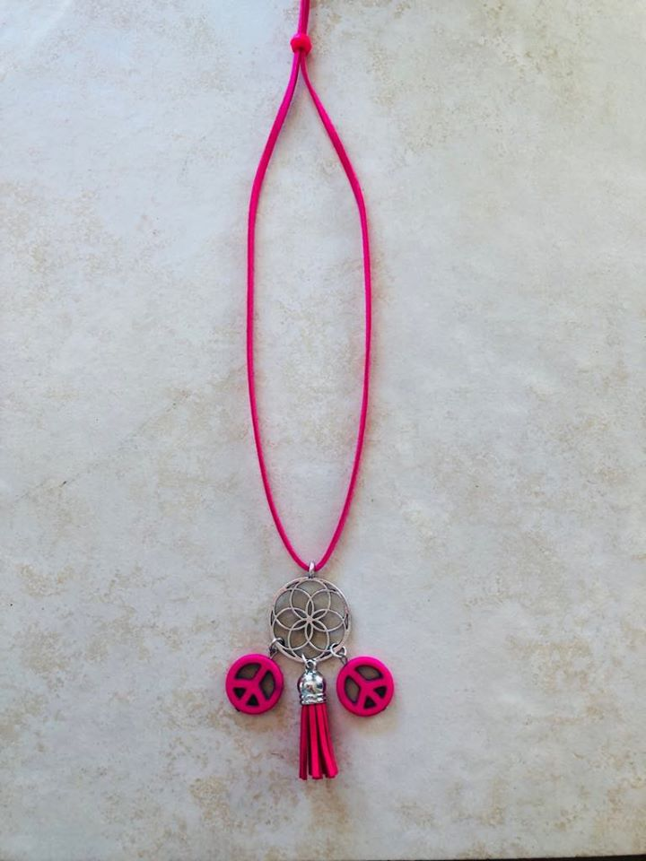 Hot Pink adjustable length Boho Necklace