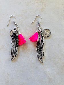 Silver feather and hot pink tassel earrings