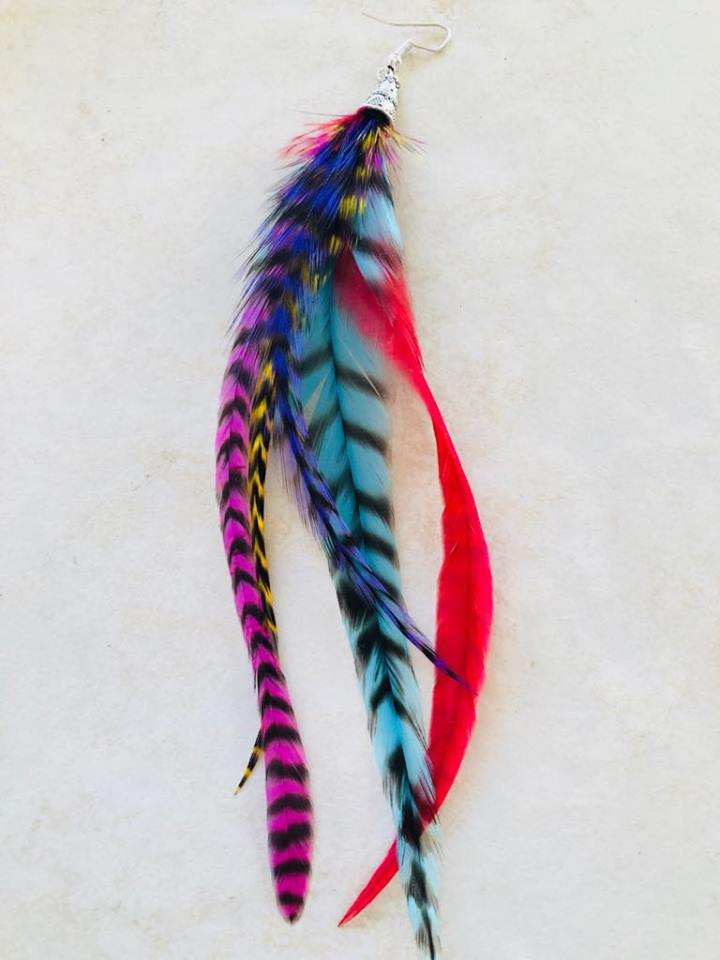 Single large long feather earring