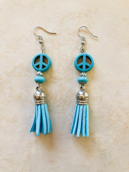 Turquoise Peace Tassel earrings