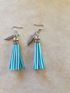 Turquoise Tassel and Feather earrings