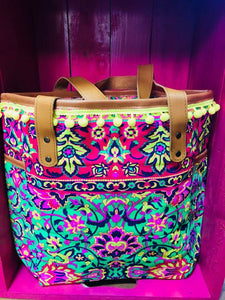 Green, Pink and yellow Canvas Boho Bag