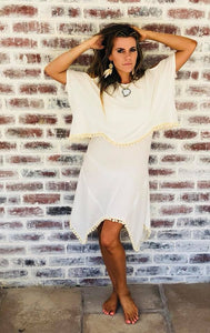 Cream two layer knit dress