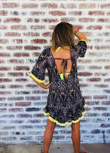 Animal Print Low back dress with yellow lace detail