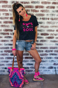 Navy with Hot pink Gypsy Soul Tee