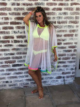 White Mesh with neon trim beach cover up
