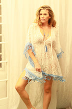 White lace beach dress with blue fringing