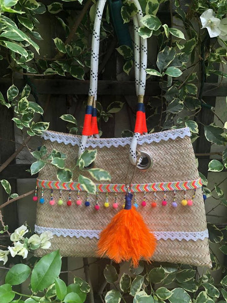 Hand woven basket bag with rope handle