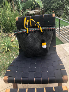 Black hand woven basket bag
