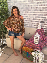 Chiffon leopard print  off shoulder Top