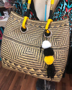 Hand woven basket in yellow & black
