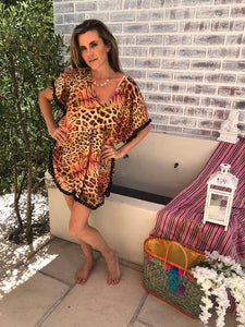 Lightweight Mesh animal print Cover up