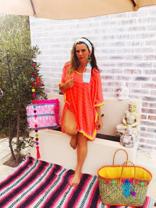Neon Coral Kaftan with neon yellow trim