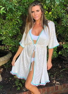 Cream open style beach dress