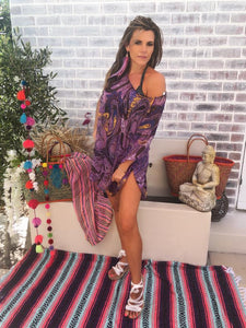Purple Print Off shoulder kaftan