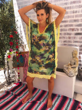 Jungle fever kaftan with yellow trim