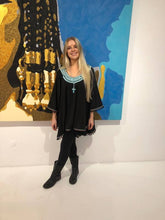 Black and turquoise  Poncho
