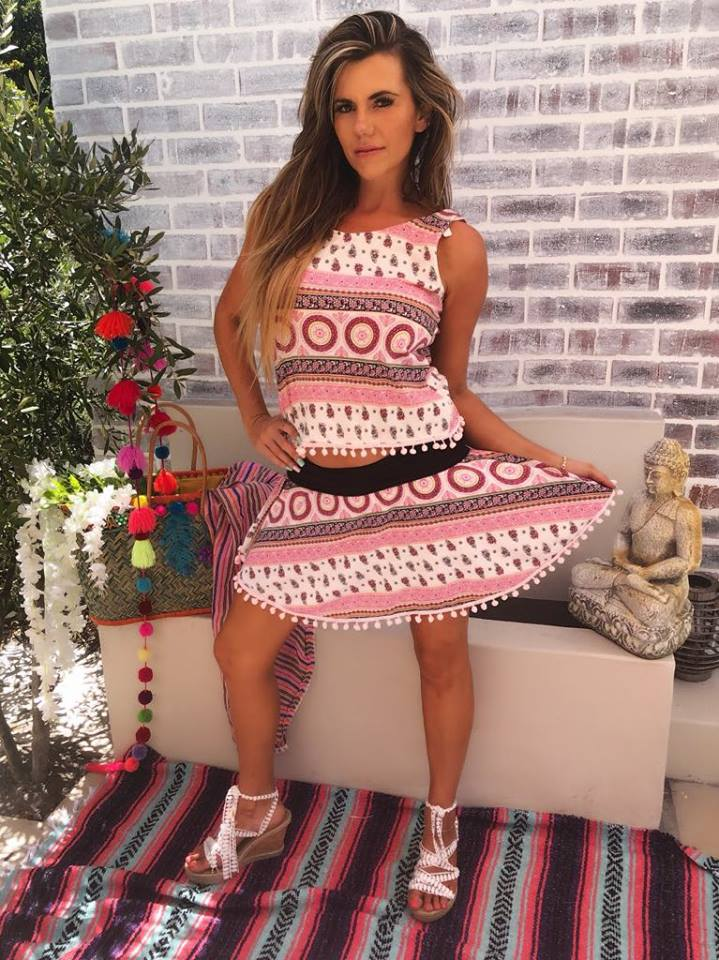 Pink, white and black printed swing skirt