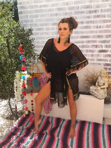 Black Lace Kaftan with tassel and gold trim