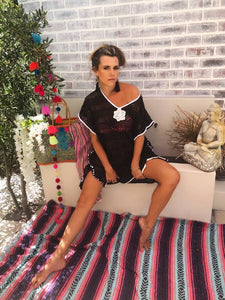 Black and white lace kaftan