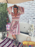 Pink and White Fabulously feminine A line Swing Dress