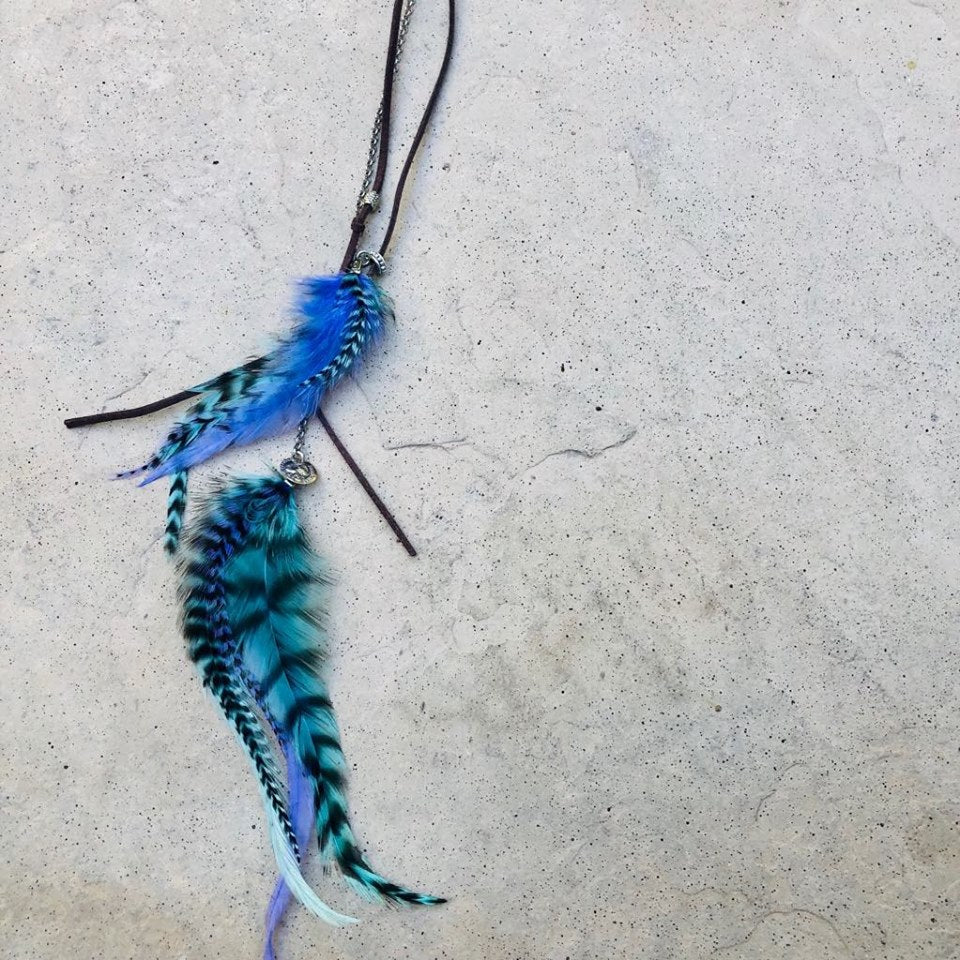 Feather Hair clip in - Blues & Greens