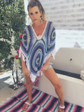 Crochet Poncho in Blues & white