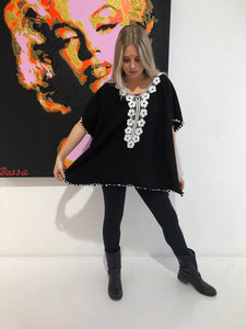 Black and white Boho poncho