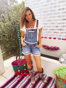 Vintage denim dungarees with lace detail