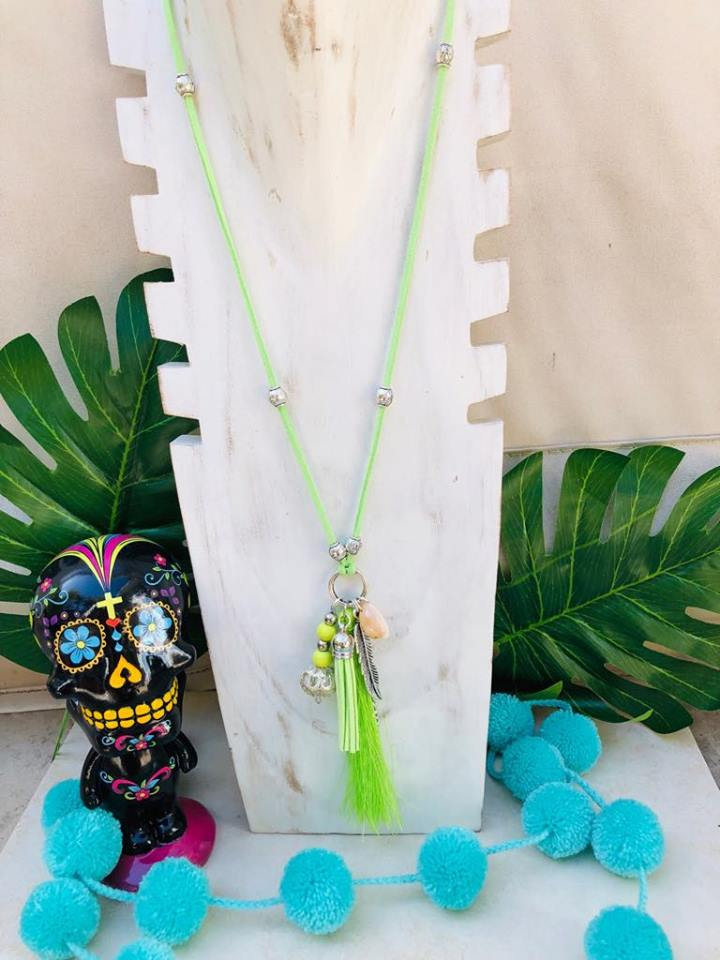 Lime Green Boho Necklace