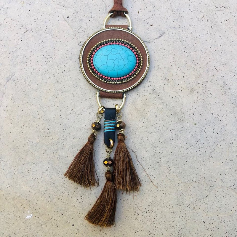 Brown suede Boho necklace with turquoise pendant