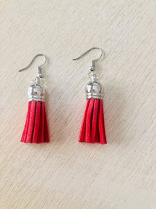Hot Coral tassel earring