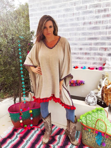 Beige Boho Poncho with red and navy trim
