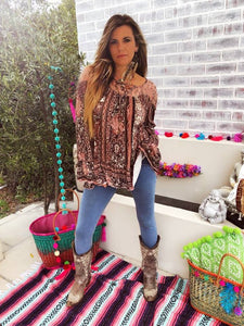 Maroon and Pink Printed Gypsy Top