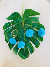 Turquoise pom pom earrings