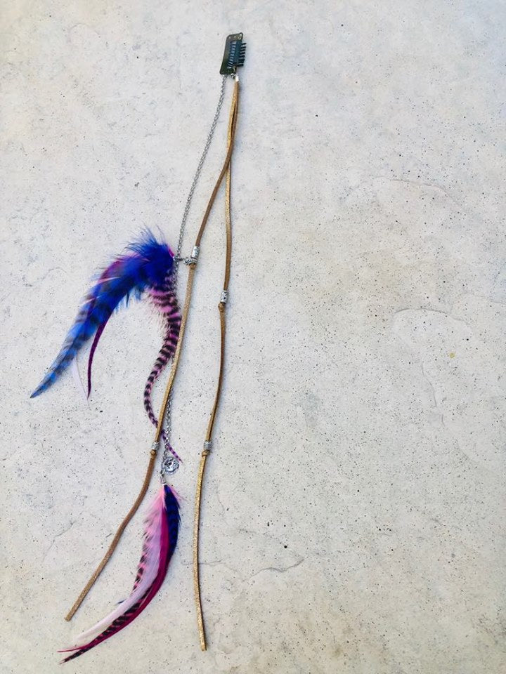 Feather Hair Clip in - Pinks and Purples