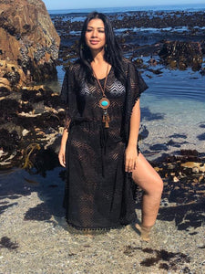 Black Lace Kaftan Long