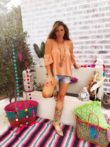 Salmon pink off shoulder boho top