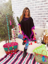Black Winter Poncho with purple pom trim