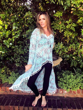 Teal leopard Print High Low top with white tassel detail