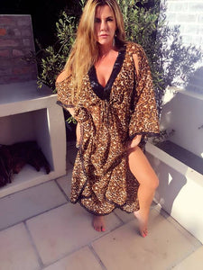 Leopard Print Kaftan with lace and sequins