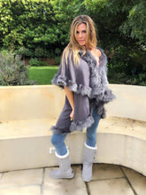 Grey Faux Fur Double layer jersey coat