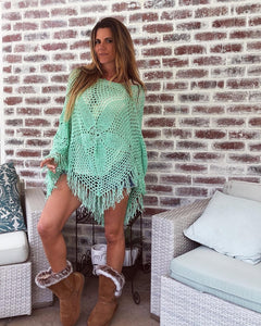 Mint Green Crochet Poncho