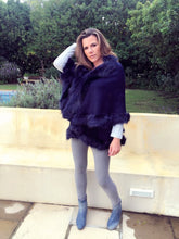 Stunningly Chic Faux fur knit coat in Navy