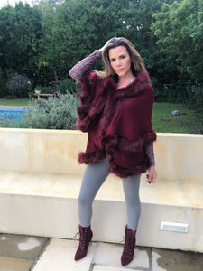 Burgundy faux fur double layer swing knit coat