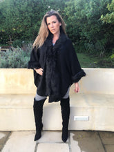 Black Faux Fur Knit Coat