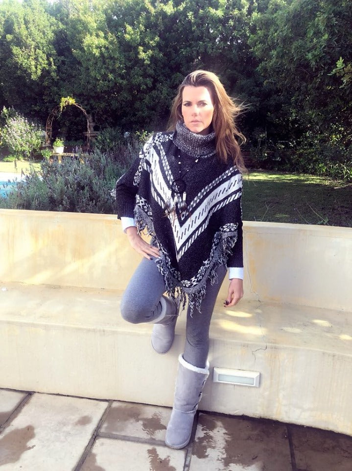 Aztec look Jersey Poncho