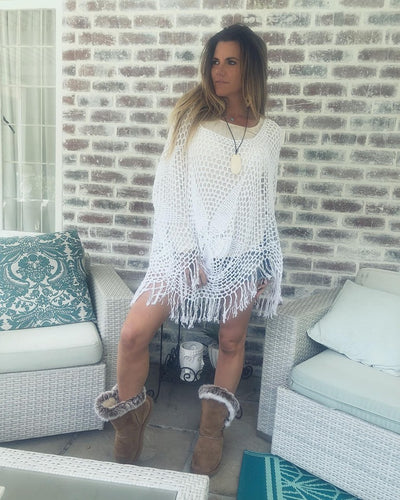 White Crochet Boho Summer Poncho